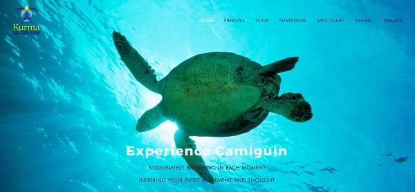 Screenshot der Homepage von Kurma Freedive